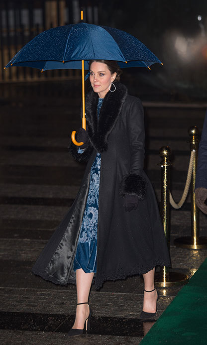 Kate highlighted her bump in another statement Erdem gown, which she wore with a coat by Swedish designer Ida Sjostedt. Her Victorian-inspired dress was the Erdem Christina Devore Velvet Midi Dress - part of the designer's A/W 17 runway collection.
