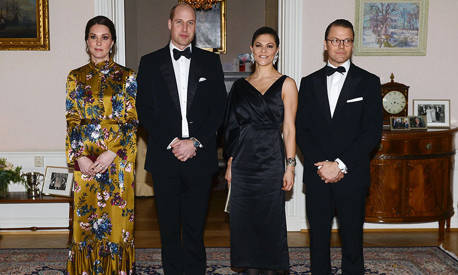 The stunning couple looked incredible in their finest occasion wear, and the glowing Duchess made an stylish statement in an Erdem floor-length floral print gown in mustard which neatly skimmed over her adorable baby bump. The pregnant royal added high heel shoes and a dazzling collection of jewels for the swish affair, with her rich brunette locks style in a sleek updo.