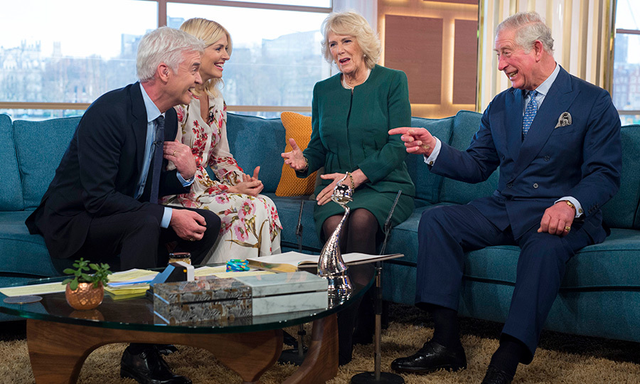 British TV show hosts Philip Schofield and Holly Willoughby shared a joke on the sofa with Camilla, Duchess of Cornwall and Prince Charles after filming for ITV's <em>This Morning</em> on Jan. 31. 
