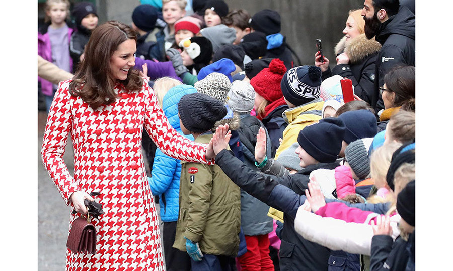 Several young children looked ecstatic to meet the Duchess, with many reaching out to shake her hand or give her a high-five.