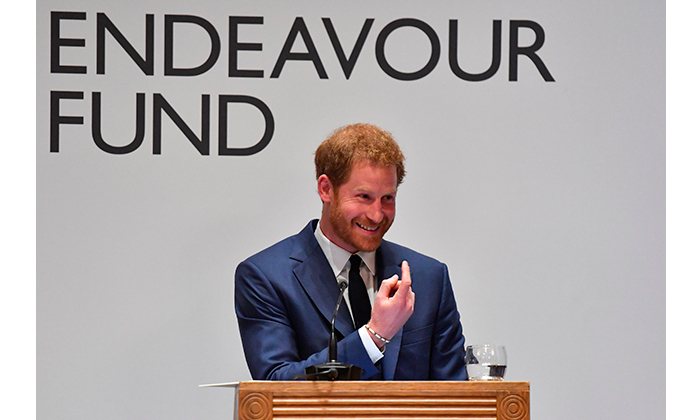 Cheeky Prince Harry playfully beckoned the winner of the Henry Worsley Award to the stage. While he is known for his charming sense of fun, the evening's cause is one that he takes very seriously. The royal has dedicated plenty of time to improving the lives of sick and injured servicemen and women, most notably with his Invictus Games.
