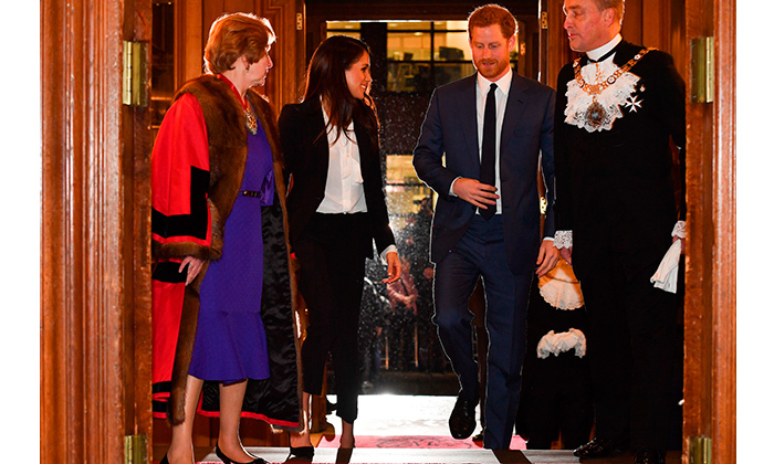 Meghan and Harry were greeted in style as they arrived at the glitzy awards show following a walk down their first official joint red carpet. 
