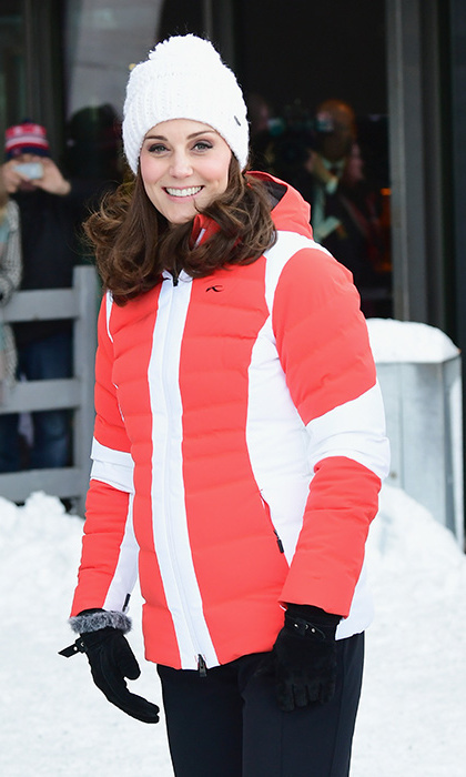 Clad in a cozy yet chic red-and-white ski jacket by KJUS Duana and a fluffy white Barts Jasmine Beanie, Kate was dressed to impress as the couple visited the Holmenkollen ski jump.