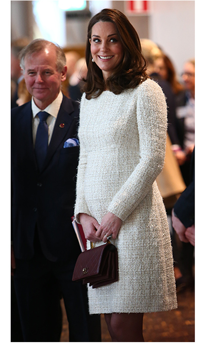 While pregnant with her third child in January 2018, Duchess Kate gave Alexander McQueen a maternity twist while on a royal tour in Sweden. For a visit to Stockholm's Karolinska Institutet, the Duchess wore an elegant white bouclé dress from the fashion house. 