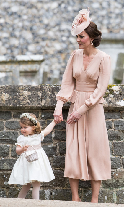 For her younger sister's wedding in May 2017, Kate wore Alexander McQueen just like she did for her own nuptials in 2011. This time, she wore a silk blush dress that was Elizabethan-inspired.