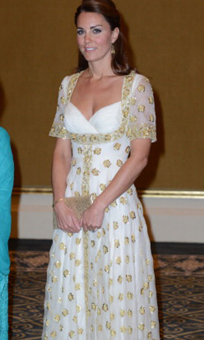 While in Malaysia, Kate wore this gorgeous gown with a gold polka dot overlay.