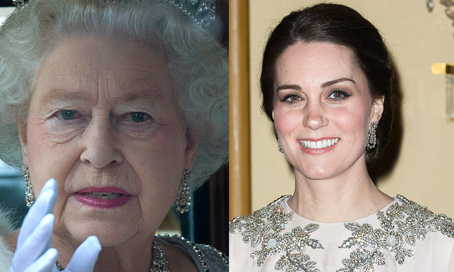 The Duchess, while on tour in Norway and Sweden, donned a pair of Queen Elizabeth's diamond pendant earrings. The jewels were first spotted on Her Majesty in 2012 at the State Opening of Parliament. The Duchess was first spotted donning them for the Place2Be Awards in November.