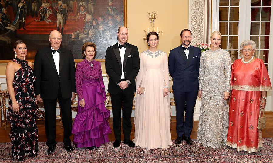 When it was time for the black tie dinner, the Princess, far left, looked glamorous in a floral halter dress as she joined her family and the Duke and Duchess for an official photo. From left to right: Princess Martha Louise, King Harald V, Queen Sonja, the Duke and Duchess of Cambridge, Crown Prince Haakon, Crown Princess Mette Marit of Norway and Princess Astrid. 