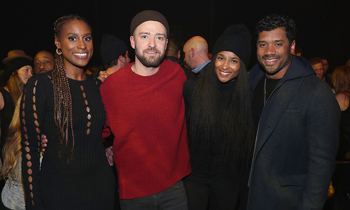 Issa Rae, Super Bowl halftime show headliner Justin Timberlake, Ciara and her hubby Russell Wilson attended a listening party for Justin's latest album, <em>Man of the Woods</em> in Chanhassen, Minnesota on Feb. 1.