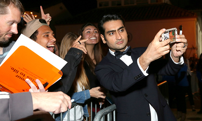 The big selfie! Virtuoso Award recipient and <em>The Big Sick</em> star/writer Kumail Nanjiani took a selfie with fans waiting outside the Arlington Theatre at the Santa Barbara International Film Festival on Feb. 3.