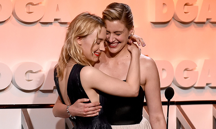 Hug it out! Saoirse Ronan presented Greta Gerwig with the Nomination Medallion for Outstanding Directorial Achievement in Feature Film for 'Lady Bird' at the Directors Guild Of America on Feb. 3 in Beverly Hills.