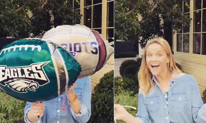 """Happy Super Bowl!! Let's do this !! "" said Reese Witherspoon in a cute Insta vid. She doesn't seem partial to any team but showed her enthusiasm for the game!"