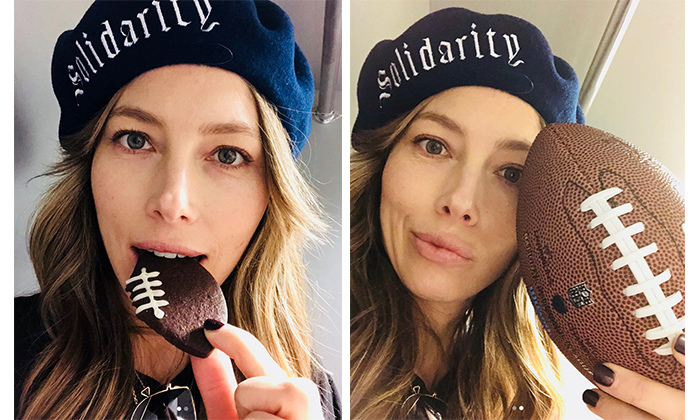 "Jessica Biel captioned these two adorable photos: ""Laces out...! #superbowllii"" She was surely brimming with pride when husband Justin Timberlake took the stage and performed a medley of his top hits during the halftime show."