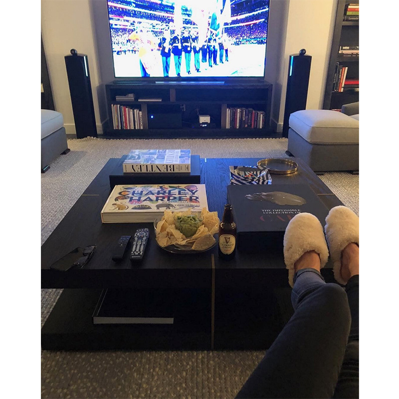 """Go Patriots!!!! "" said Marie-Chantal, Crown Princess of Greece. The royal was watching from her couch, cozy in furry slippers."
