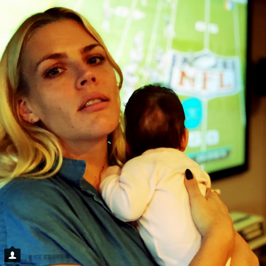 """Holding this 10 week old baby is MY Superbowl"" said Busy Philipps, who was having the cuddliest Super Bowl Sunday of anyone, hands down."