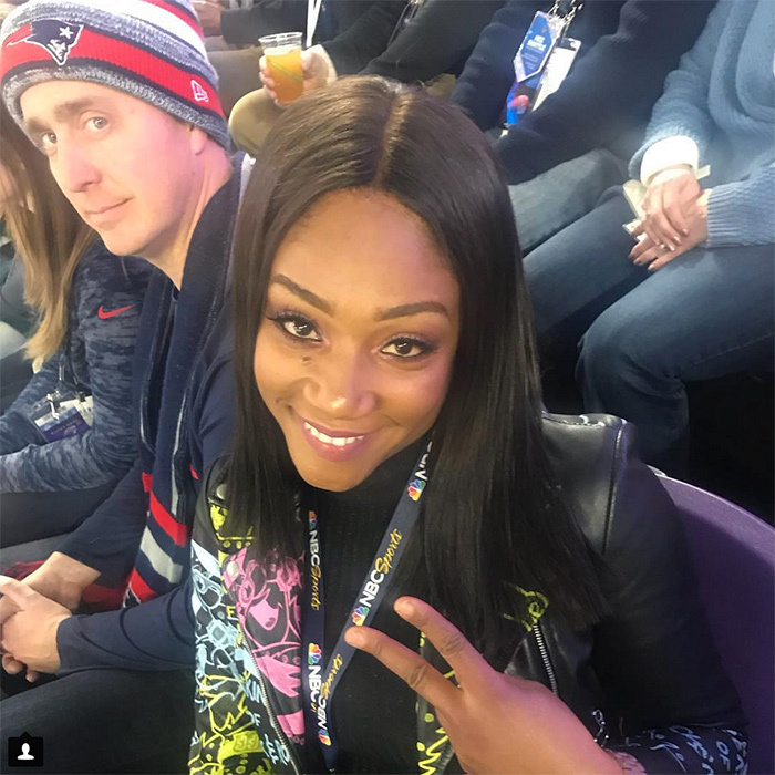 "Tiffany Haddish's caption for this photo from U.S. Bank Stadium had us LOLing: ""Having alot of fun sitting next to strangers at #superbowl52 on my @groupon ticket hopefully @kevinhart4real or @diddy sends someone to get me out of my seat in section 140 row 19 seat 22. So I can get a Football player Husband."""