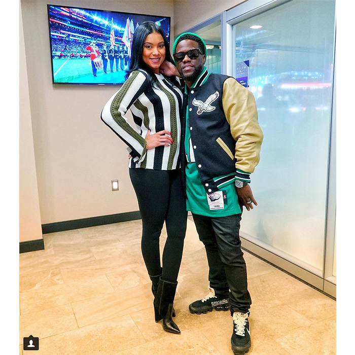 """#Harts #SuperBowlSwag #Eagles #philadelphia"" said Kevin Hart, who was very clear on which team he'll be rooting for while posting with wife Eniko Parrish."