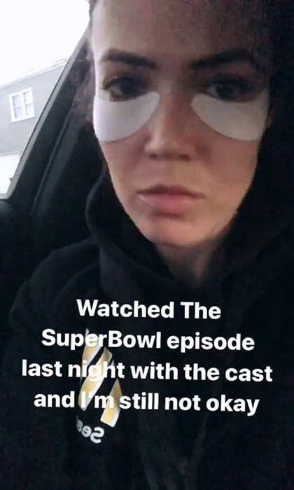 Mandy Moore was all of us when she watched the Super Bowl episode of <em>This Is Us</em>, which finally revealed the cause of Jack's death, and clearly bawled her eyes out. 