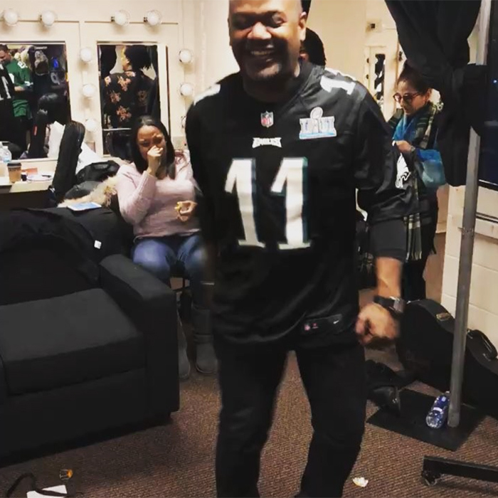 "Rapper Quest Love was overcome with emotion by the Philadelphia win! ""Mood. #FlyEaglesFly"".