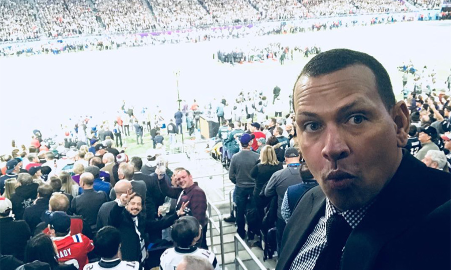 "Jennifer Lopez's boyfriend Alex Rodriguez was at the game, too! ""Game time @ Super Bowl LII — Who are you cheering for: Pats or Eagles??? #Superbowl @nfl"".