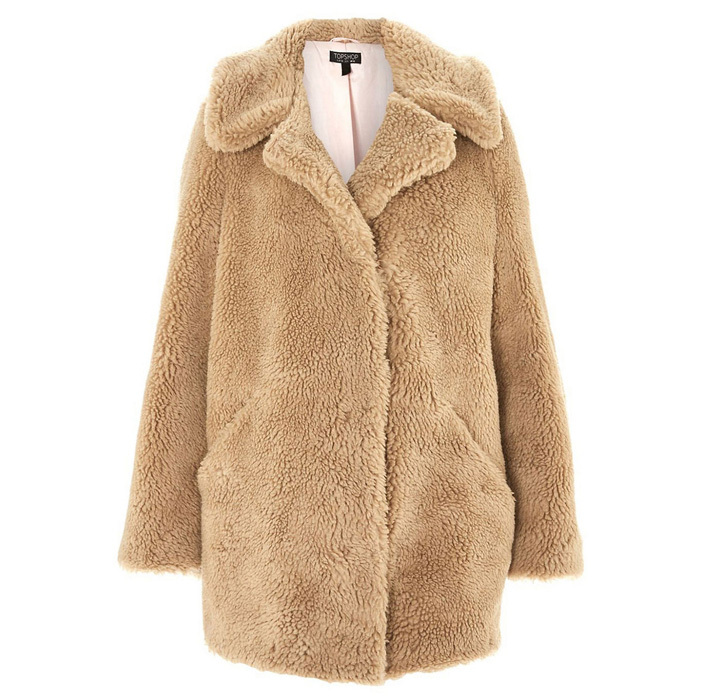 "<p><strong>TOPSHOP Lucy Teddy Bear Faux Fur Jacket</strong>, $135, <a href=""http://thebay.com"" target=""_blank""><em>thebay.com</em></a></p>"