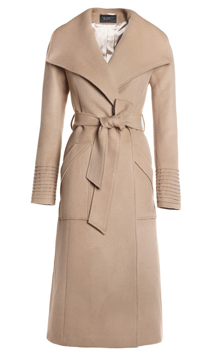 "<p><strong>Long Wide Collar Wrap Coat with Signature Ribbed Cuff in Camel</strong>, $1,695, <a href=""http://sentaler.ca"" target=""_blank""><em>sentaler.ca</em></a></p>"