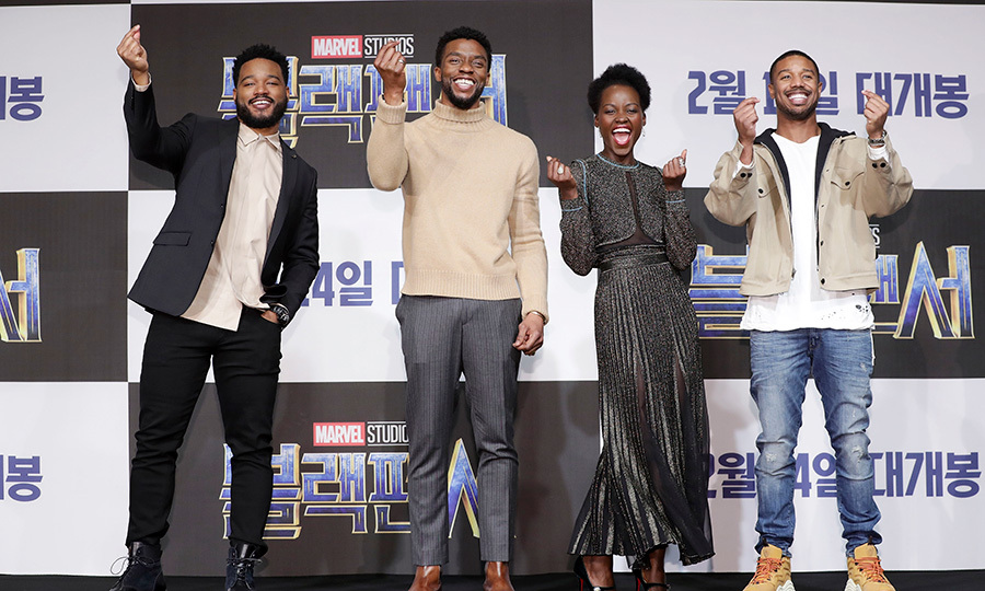 Film director Ryan Coogler and actors Chadwick Boseman, Lupita Nyong'o and Michael B. Jordan were all smiles at the <em>Black Panther</em> premiere in Seoul!