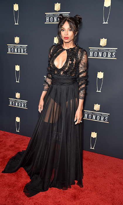 Ciara was the picture of cool at the NFL Honors at University of Minnesota on Feb. 3! The musician stunned in a black see-through gown and chic fun buns in her hair.