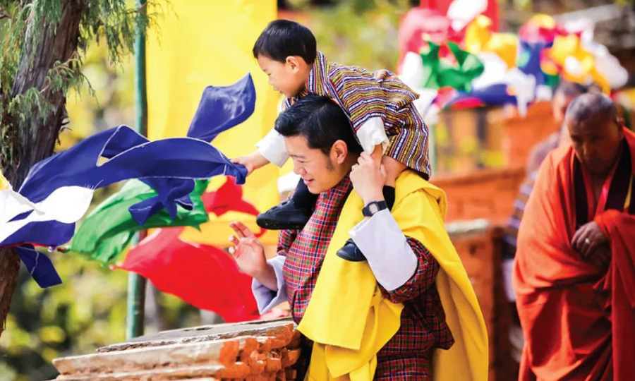 "<p>The little Prince and his dad enjoyed a colorful outing on October 30, 2017. The photo is featured as the November image from Yellow. Along with the image that was shared on both King Jigme Khesar Namgyel Wangchuck and Queen Jetsun Pema's Facebook pages, the caption read: ""This wonderful photograph was taken at the Dechenphu Lhakhang, which is a sacred temple dedicated to Ap Genyen, one of the most important protector deities of Bhutan, on 30th October, during the Dechenphu Tshechu, which is a festival dedicated to the deity.""</p>