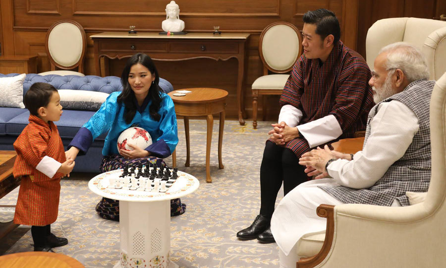 "<p>The King and Queen of Bhutan brought their son along for their four-day visit to India. The 21-month-old checked out a chess set as his mom held on to a ball for him. On Queen Jetsun Pema's Facebook, the caption with the photo read: ""The Indian Prime Minister Shri Narendra Modi said it was an honour to be introduced to His Royal Highness the Gyalsey and to welcome His Royal Highness on his first visit to India.""</p>