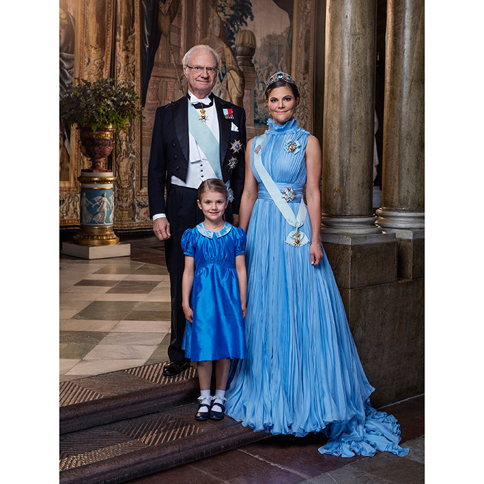 Three generations of Sweden's monarchs, present and future, co-star in this stunning newly released portrait snapped the same day as the Nobel Peace Prize gala in December 2017. In it, King Carl XVI Gustaf stands alongside his heir, Crown Princess Victoria and second-in-line, his granddaughter Princess Estelle.
