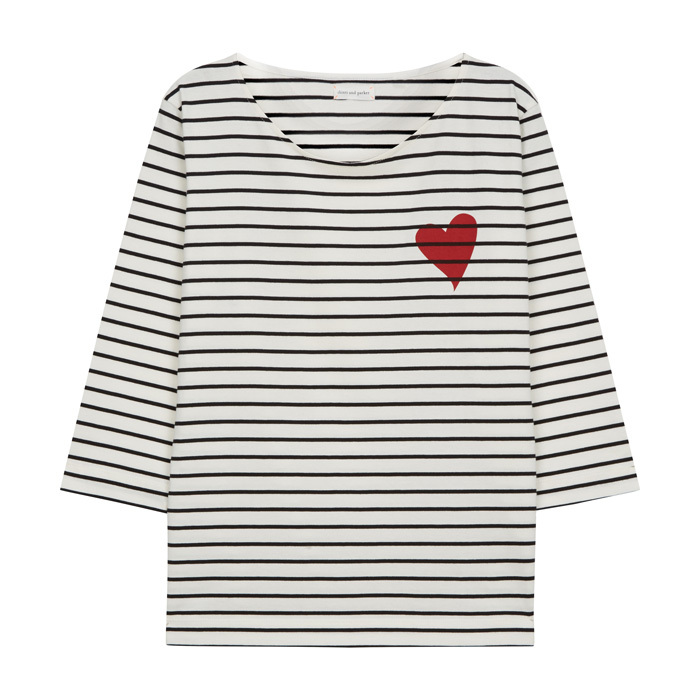 "<p><strong>Ivory Striped Heart Breton T-Shirt</strong>, $179, <a href=""http://chintiandparker.com"" target=""_blank""><em>chintiandparker.com</em></a></p>"