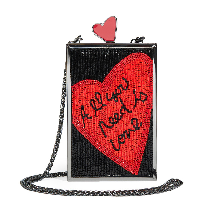 "<p><strong>Beatles All You Need Is Love Clutch</strong>, $636, <a href=""http://aliceandolivia.com"" target=""_blank""><em>aliceandolivia.com</em></a></p>"