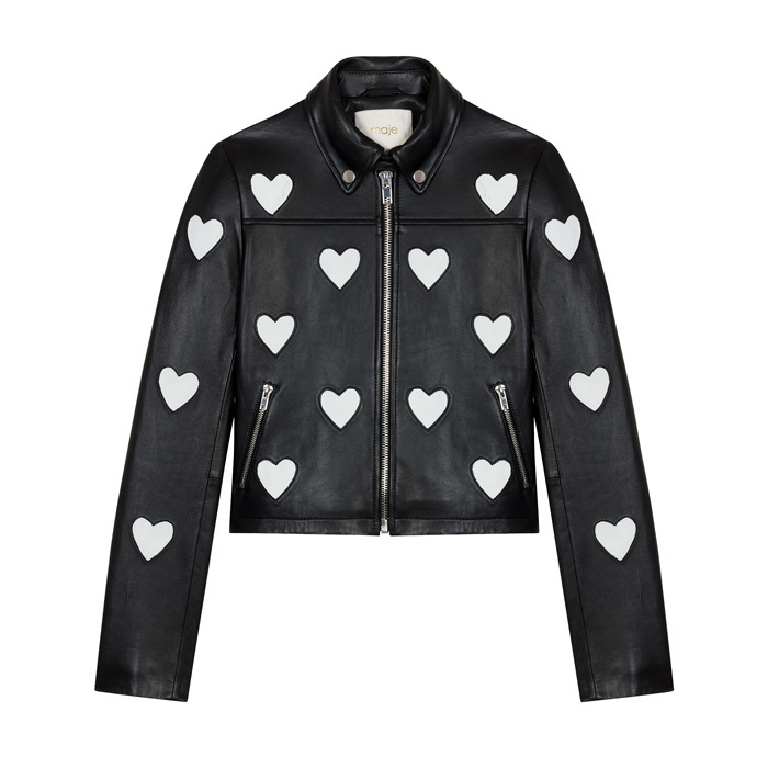 "<p><strong>Leather Jacket</strong>, $855, <a href=""http://maje.com"" target=""_blank""><em>maje.com</em></a></p>"