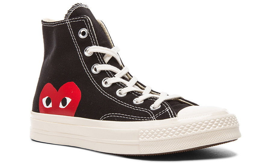"<p><strong>Comme Des Garçons Converse Large Emblem High Top Canvas Sneakers</strong>, $125, <a href=""http://fwrd.com"" target=""_blank""><em>fwrd.com</em></a></p>"