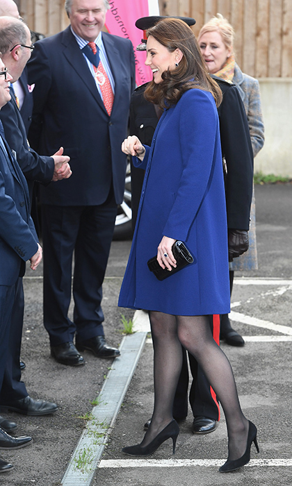 The Duchess is back in action after her and Prince William's whirlwind royal tour! Kate stepped out in a gorgeous royal blue coat by GOAT, paired with sheer black tights and black pumps. She was attending the opening of the Action On Addiction Community Treatment Centre in Essex on Feb. 7.