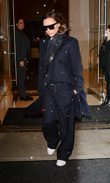 The fashionable Victoria Beckham was spotted in snowy New York on Feb. 7, looking chic as ever in an oversized navy suit.