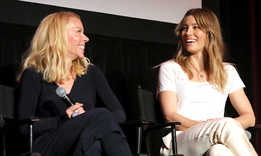 Actress Jessica Biel and CEO of Evofem Biosciences, Inc. Saundra Pelletier shared a laugh while speaking on a panel during The 2018 MAKERS Conference on Feb. 6.