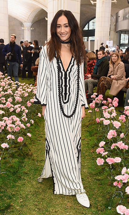 Actress and model Maggie Q looked perfect in pinstripes for Tory Burch's show!