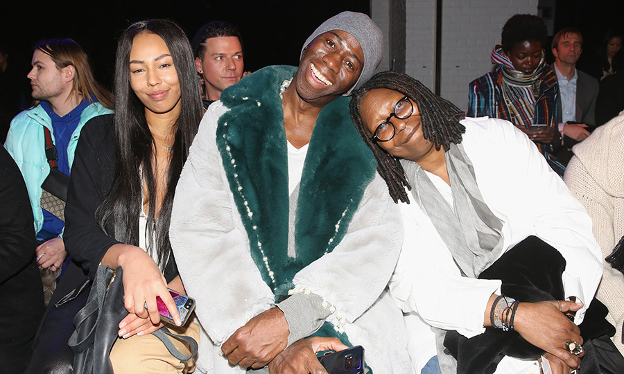 Jerzy Dean, J. Alexander, and Whoopi Goldberg got cozy in front row for Ceremony: Xuly.Bet x Mimi Prober x Hogan McLaughlin's runway show.