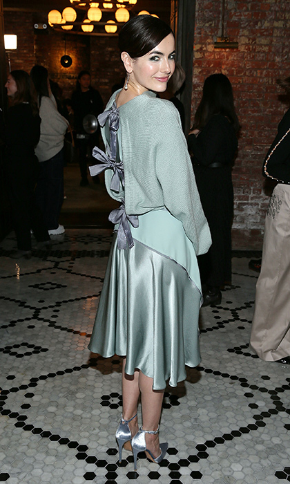 Camilla Belle stunned in a mint green ensemble at the Adeam show during NYFW.