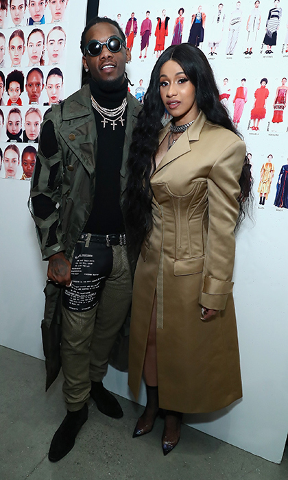 Musicians (and fiancés!) Cardi B and Offset looked chic as ever, matching in neutral shades, while backstage at the Prabal Gurung show.