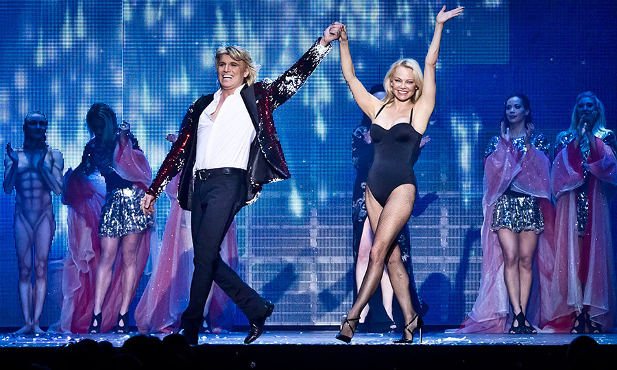 Pamela Anderson took part in dutch magician Hans Klok's show in Berlin on Feb. 8.