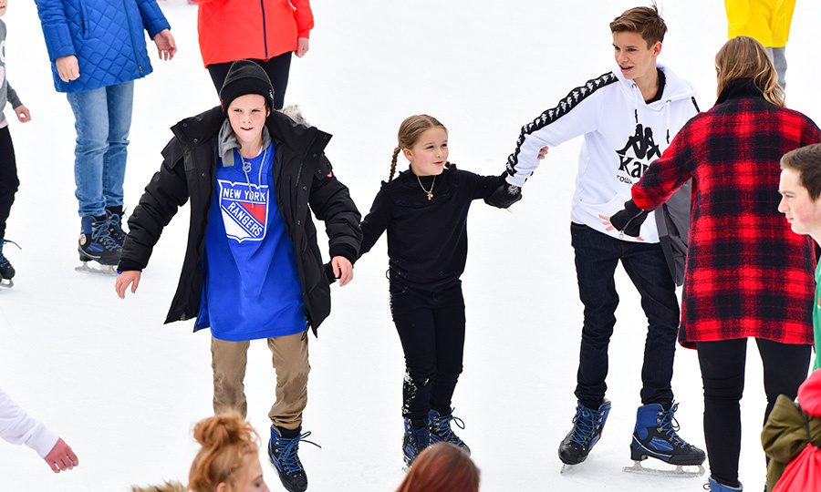 Cruz, Harper and Romeo Beckham went for a family skate in New York on Feb. 10.