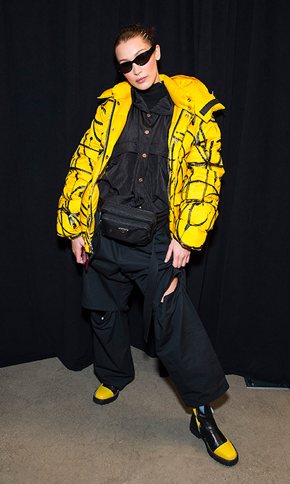 Bella Hadid can seriously wear anything! The supermodel stunned in yellow and black while backstage at the Prabal Gurung show, which she later walked in.