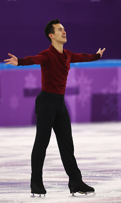 Patrick Chan posed after his incredible skate.