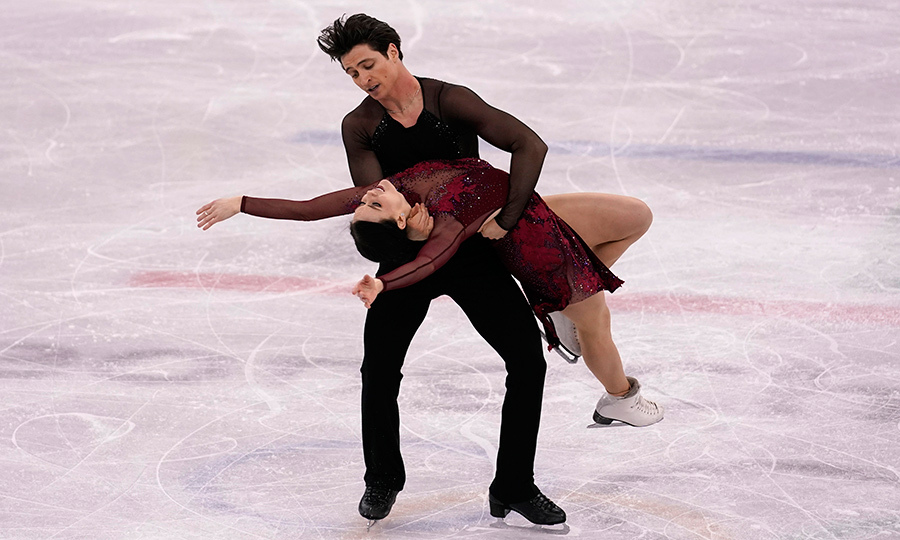 Scott Moir dipped his skating partner Tessa Virtue back during their performance.
