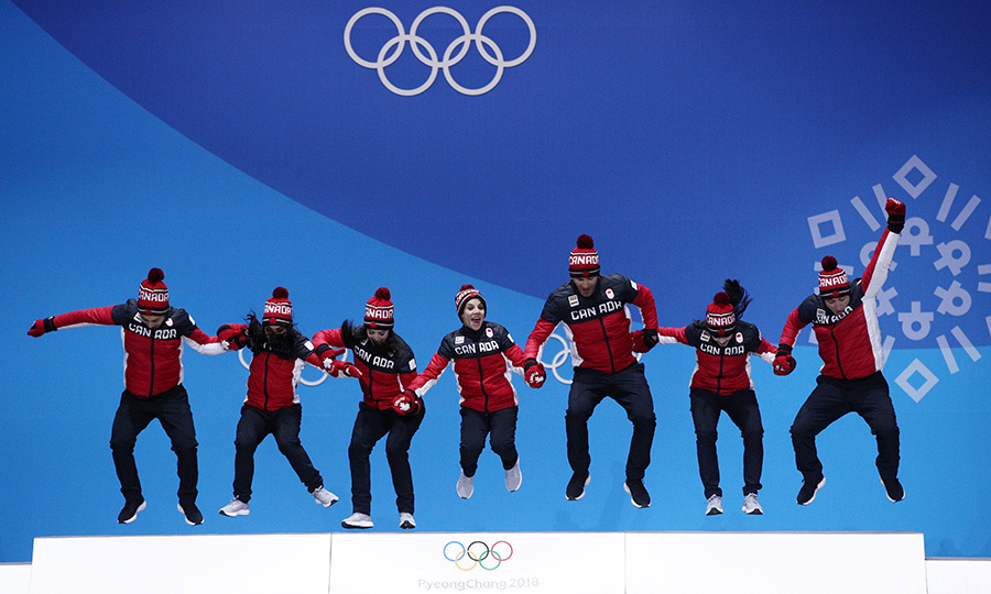 Team Canada jumped for joy while celebrating their incredible wins!