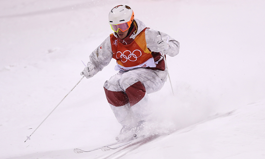 Mogul skier Mikael Kingsbury raced to his gold medal.