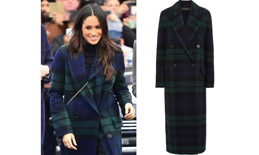Meghan pulled out all the tartan stops on Feb. 13 while in Scotland on her and Prince Harry's second royal engagement of the year. The former actress stunned in a green-and-blue Burberry coat, paired with a rich green Strathberry purse. Meghan also donned two Birks rings and Jimmy Choo shoes.